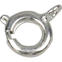 Fermoirs à ressort, d: 7 mm, argenté, 10 pièce/ 1 Pq.