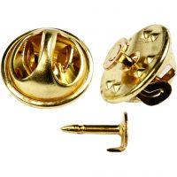 Pins bouton, d: 11,5 mm, doré, 25 pièce/ 1 Pq.