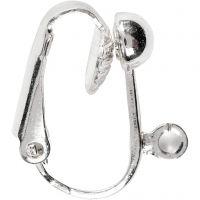 Boucles d'oreilles, L: 16,5 mm, L: 1,5 mm, diamètre intérieur 1,6 mm, argenté, 6 pièce/ 1 Pq.