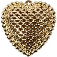 Coeur, dim. 28x29 mm, diamètre intérieur 1 mm, doré, 1 pièce
