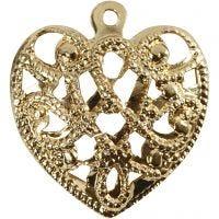 Coeur, dim. 13x14 mm, diamètre intérieur 1 mm, doré, 4 pièce/ 1 Pq.