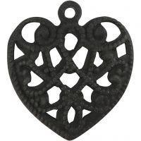 Coeur, dim. 13x14 mm, diamètre intérieur 1 mm, noir, 4 pièce/ 1 Pq.