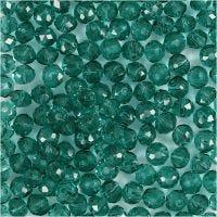 Perles à facettes, d: 4 mm, diamètre intérieur 1 mm, vert, 45 pièce/ 1 rang