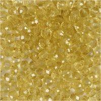 Perles à facettes, d: 4 mm, diamètre intérieur 1 mm, jaune, 45 pièce/ 1 rang