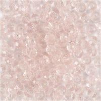 Perles à facettes, d: 4 mm, diamètre intérieur 1 mm, rose clair, 45 pièce/ 1 rang