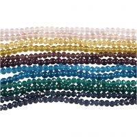 Perles de verre et perles à facettes, d: 4 mm, diamètre intérieur 1 mm, 12x45 pièce/ 1 Pq.