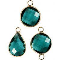 Pendentif pour bijoux, H: 15-20 mm, diamètre intérieur 2 mm, vert, 1 Pq.