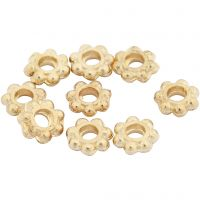 Perle espaceur, d: 6 mm, diamètre intérieur 2 mm, doré, 100 pièce/ 1 Pq.