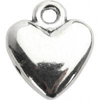Pendentif en forme de coeur, dim. 13x15 mm, argenté, 10 pièce/ 1 Pq.