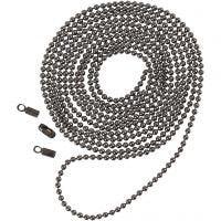 Chaîne de perles, d: 1,5 mm, gris foncé métallique, 1 m