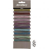 Chaîne de perles colorée, d: 1,5 mm, couleurs assorties, 10x80 cm/ 1 Pq.