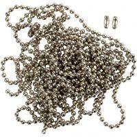 Chaîne de perles, d: 1,5 mm, argenté, 3 m/ 1 rouleau