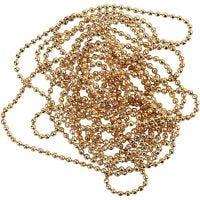 Chaîne de perles, d: 1,5 mm, doré, 1,5 m/ 1 rouleau