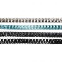 Chaînes articulées , d: 4,2 mm, noir, gris foncé, argent, turquoise, 20x160 cm/ 1 Pq.