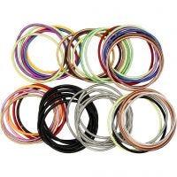 Bracelets ressorts, L: 18 cm, ép. 3 mm, couleurs assorties, 84 pièce/ 1 Pq.