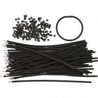 Bracelets - Assortiment, L: 20 cm, ép. 4 mm, noir, 48 set/ 1 Pq.