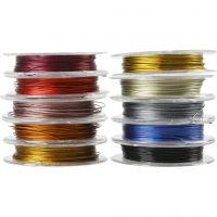 Fil à perles, ép. 0,38 mm, couleurs assorties, 10x10 m/ 1 Pq.