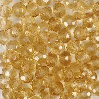 Perles à facettes, dim. 5x6 mm, diamètre intérieur 1 mm, topaz, 100 pièce/ 1 Pq.