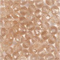 Perles à facettes, dim. 5x6 mm, diamètre intérieur 1 mm, rose, 100 pièce/ 1 Pq.