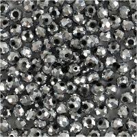 Perles à facettes, dim. 3x4 mm, diamètre intérieur 0,8 mm, gris métallique, 100 pièce/ 1 Pq.