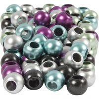 Perles Pony, d: 10 mm, diamètre intérieur 4 mm, couleurs métalliques, 125 ml/ 1 Pq., 60 gr