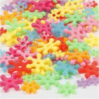 Perles plastique Novelty, d: 7-13,5 mm, diamètre intérieur 2 mm, couleurs assorties, 125 ml/ 1 Pq., 50 gr
