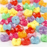 Perles de différentes formes, d: 9,5 mm, diamètre intérieur 1,5 mm, couleurs assorties, 125 ml/ 1 Pq., 75 gr