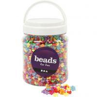 Perles de différentes formes, d: 9,5 mm, diamètre intérieur 1,5 mm, couleurs assorties, 700 ml/ 1 boîte, 380 gr