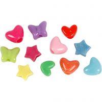 Perles plastique Novelty, d: 10 mm, diamètre intérieur 3,5 mm, 125 ml/ 1 Pq., 65 gr