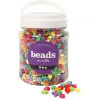 Perles plastique Novelty, d: 10 mm, diamètre intérieur 3,5 mm, couleurs assorties, 700 ml/ 1 boîte, 400 gr