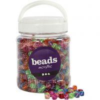 Perles dés, dim. 7x7 mm, diamètre intérieur 1,5 mm, couleurs assorties, 700 ml/ 1 boîte, 510 gr