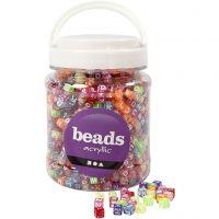 Perles avec lettres, dim. 7x7x7 mm, diamètre intérieur 3 mm, couleurs assorties, 700 ml/ 1 boîte, 450 gr