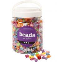 Perles plastique Novelty, d: 10 mm, diamètre intérieur 3 mm, couleurs assorties, 700 ml/ 1 boîte, 380 gr