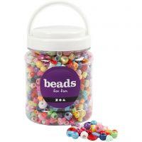 Seau de perles plastique, dim. 6-20 mm, diamètre intérieur 1,5-6 mm, 700 ml/ 1 boîte, 390 gr