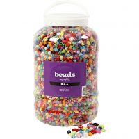 Seau de perles plastique, dim. 6-20 mm, diamètre intérieur 1,5-6 mm, 5700 ml/ 1 seau, 3000 gr