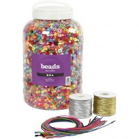 Seau de perles plastique, dim. 6-20 mm, diamètre intérieur 1,5-6 mm, couleurs assorties, 1 set