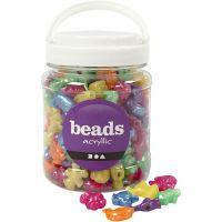Perles plastique Novelty, dim. 25 mm, diamètre intérieur 4 mm, couleurs nacrées, 700 ml/ 1 boîte