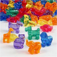 Perles de différentes formes, dim. 25 mm, diamètre intérieur 4 mm, 700 ml/ 1 boîte