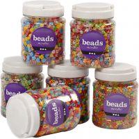 Mélange de perles, dim. 7-10 mm, diamètre intérieur 2-4 mm, couleurs assorties, 6x700 ml/ 1 Pq.