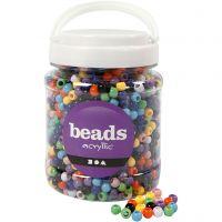 Perles Pony, d: 8 mm, diamètre intérieur 4 mm, couleurs assorties, 700 ml/ 1 boîte, 415 gr