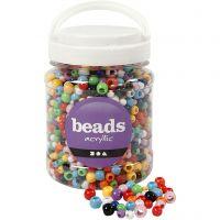Perles Pony, d: 6-10 mm, diamètre intérieur 3-5 mm, couleurs assorties, 700 ml/ 1 boîte, 430 gr
