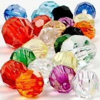 Mix de perles à facettes, dim. 10-12-16 mm, diamètre intérieur 1-2,5 mm, 125 ml/ 1 Pq., 75 gr