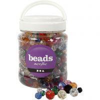 Mix de perles à facettes, dim. 10-12-16 mm, diamètre intérieur 1-2,5 mm, couleurs assorties, 700 ml/ 1 boîte, 500 gr