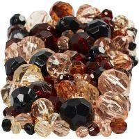 Perles à facettes, dim. 4-12 mm, diamètre intérieur 1-2,5 mm, or, 250 gr/ 1 Pq.