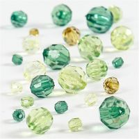 Mix de perles à facettes, dim. 4-12 mm, diamètre intérieur 1-2,5 mm, glitter vert, 45 gr/ 1 Pq.