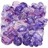 Mix de perles à facettes, dim. 4-12 mm, diamètre intérieur 1-2,5 mm, violet, 250 gr/ 1 Pq.