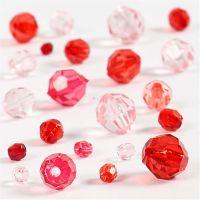 Mix de perles à facettes, dim. 4-12 mm, diamètre intérieur 1-2,5 mm, harmonie de rouges, 45 gr/ 1 Pq.