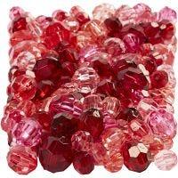 Mix de perles à facettes, dim. 4-12 mm, diamètre intérieur 1-2,5 mm, harmonie de rouges, 250 gr/ 1 Pq.