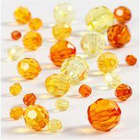 Mix de perles à facettes, dim. 4-12 mm, diamètre intérieur 1-2,5 mm, jaune, 45 gr/ 1 Pq.