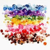 Perles à facettes, d: 4-12 mm, diamètre intérieur 1-2,5 mm, couleurs assorties, 7x250 gr/ 1 Pq.